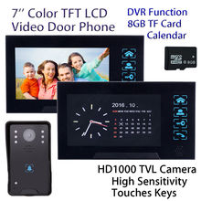Free shipping 7 LCD Video font b Door b font Phone 8GB Doorbell Intercom 2x Monitor
