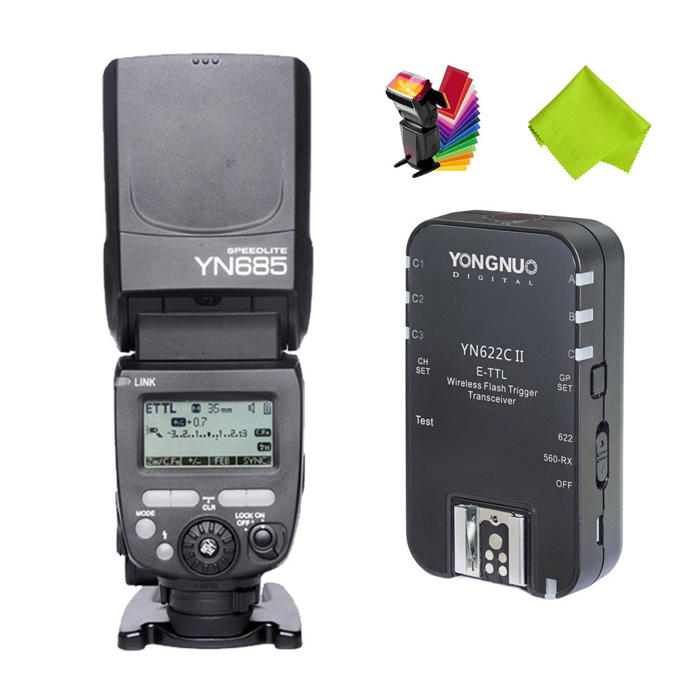 Original YONGNUO YN685+YN622C II Flash Light Speedlite with YN-622C compatible Radio Transceiver Built Inside for Canon Cameras yongnuo flash speedlite wireless transmitter yn e3 rt for canon cameras compatible with yn600ex rt as st e3 rt