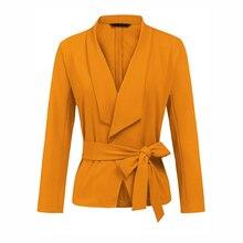 New Blazer Korean Suit Slim And Tie Bleser Feminino Rosa Bebe Long Sleeve V-neck Women Casual Short