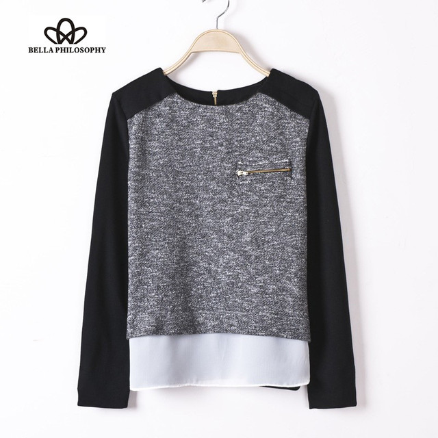 Ladies' Spliced patchwork Knitted Pullovers stylish Casual Slim shirts Zipper Pocket O-neck winter Tops black and grey white