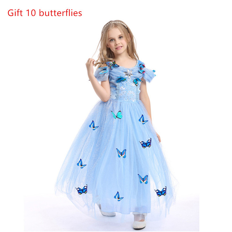 Girls cosplay Cinderella Princess Dresses Outfit Multi Layers Make-up Party Kids Homecoming Prom Robes Gown Cinderella Costumes
