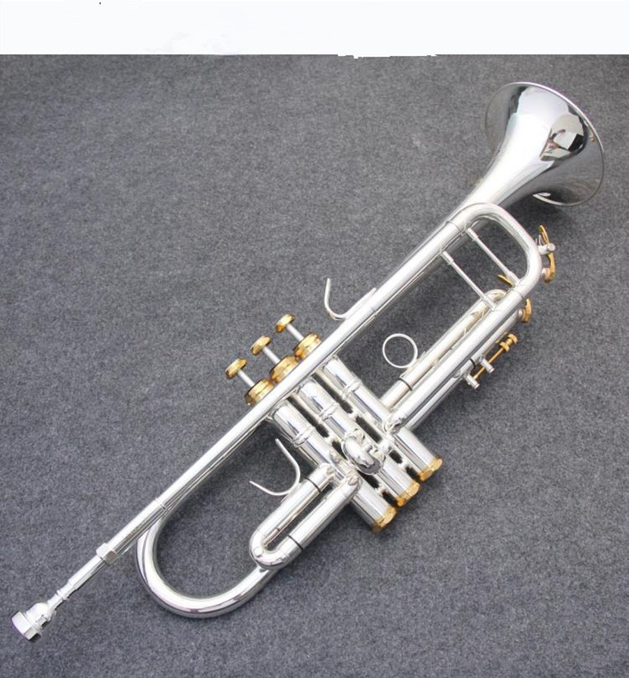 US $252 8  trumpet Silver plated trumpet musical instruments LT190S 77  Descending Bb modulation Double silver plating -in Trumpet from Sports &