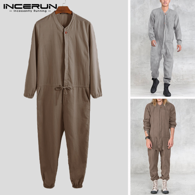 INCERUN Men Jumpsuits Solid Color Casual Rompers 2019 Baggy Button Pants Long Sleeve Stylish Men Cargo Overalls Streetwear S-5XL
