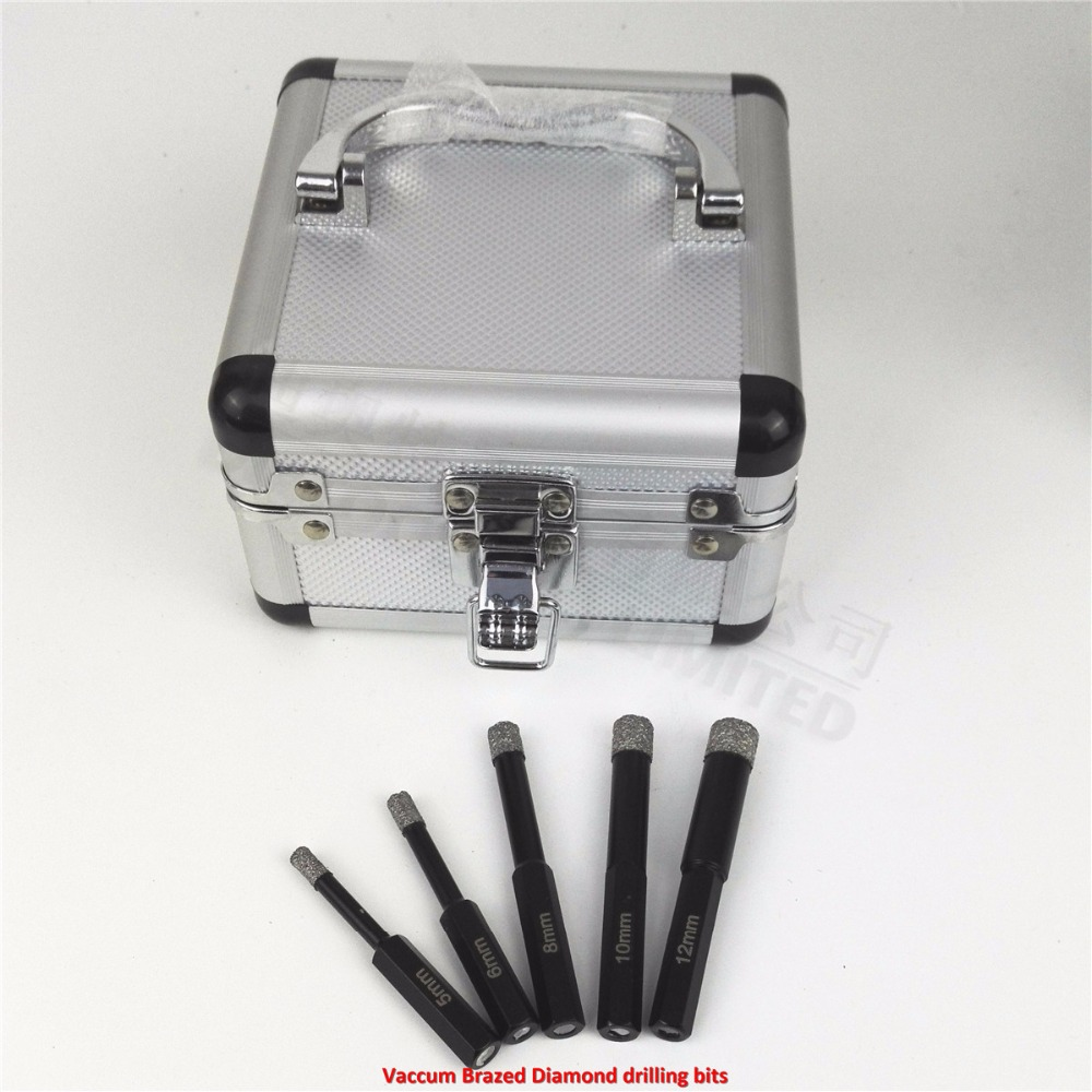 DIATOOL Drill bits kits (5/6/8/10/12MM) Vaccum Brazed Diamond drilling bits, Hex Shank, Dry drilling for stone, masonry....