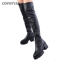 COVOYYAR 2018 Over The Knee High Boots Slim Thigh High Riding Long Boots Autumn Winter Rhinestone Chunky Heel Women Shoes WBS851