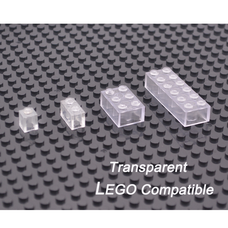 Compatible With LEGO Blocks Clear Transparent DIY Model Building Bricks Parts Kids Learning Educational Toys 6 Years Old 50pcs