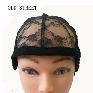 Image 1 - 10pcs/lot Weaving Net Wig Caps For Making Wigs Medium Size 22 inch Adjustable Lace Wig Cap Black Weaving Net Dome Cap