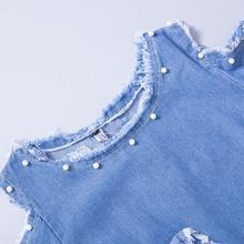 Sexy Beaded Denim Dress Women Vintage A Line Embroidery Patchwork Sundress Beach Party Short Dresses Blue Vestidos D74902J
