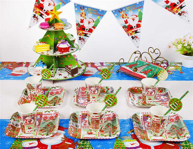 30 Sets Christmas Table Setting Paper Tableware Plate Dishes Drinking Cups Straws Cupcake Stand Santa Bunting  sc 1 st  AliExpress.com & 30 Sets Christmas Table Setting Paper Tableware Plate Dishes ...