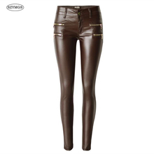 SZYMGS NEW Fashion Elastic Pencil Pants skinny jeans women PU Coated Cotton pantalones vaqueros mujer jeans