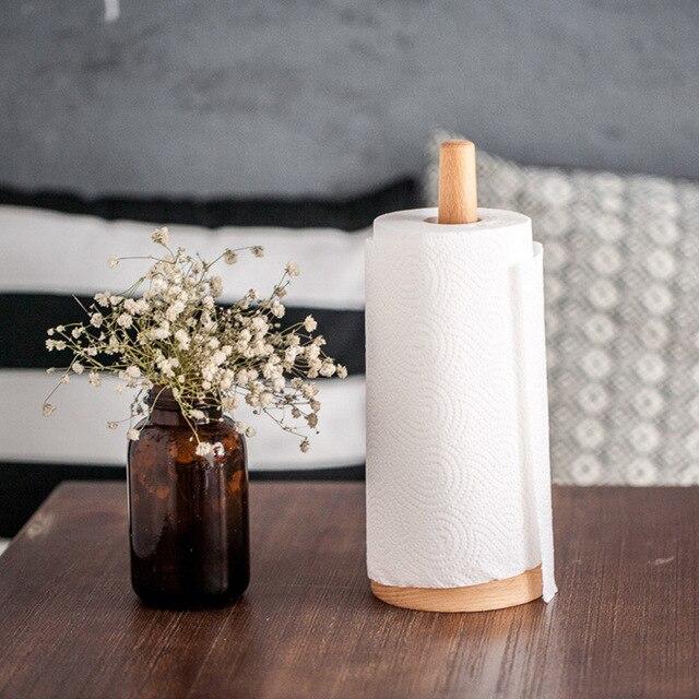 Hippo inicio creativo madera natural toalla de papel cocina rack de ...