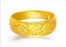 Solid 24K Yellow Gold Ring / Craved Dragon Ring Us Size:4 10 / 8 9g