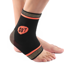 1PCS Compression copper ions ankle support running exercise jogging silicone gel pads brace Sports safety tobillera