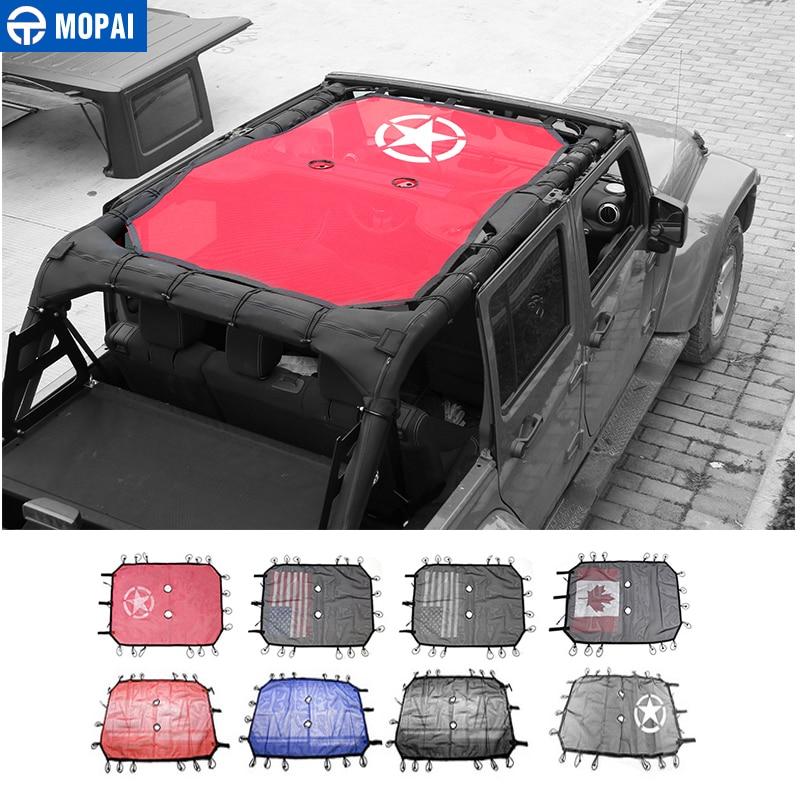 MOPAI 4 Porte De Voiture Toit Polyester bikini en maille Top housse de parasol UV Soleil filet d'ombrage Pour Jeep Wrangler 2007-2017 style de voiture