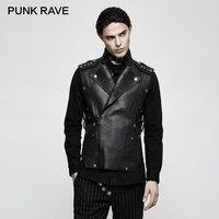 PUNK RAVE Punk Rock Military Tactical Fitted Split Stripe Men Vest Cowboy Heavy Black Cool Performance Party Gothic Tank Tops