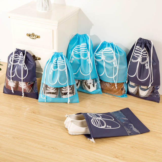 10pcs/Pack Shoes Storage Bags Drawstring Laundry Bag Travel Home Organization Nonwovens Conveniently Shoes Bags Blue 35.5x27cm