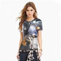 2017 Verão Estilo Criativo T-shirt Mais Mulheres do Tamanho da camisa de t Das Mulheres Modernas T HD 3D Imprimir Casual Tops Roupas