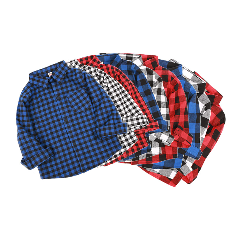 Fashion Spring Autumn Kids Plaid Shirt Cotton Long Sleeve Blouses Casual Shirts Children Clothing For 2-9 Years Boy Girl Clothes lovely spring pure cotton thomas and friends children clothing long sleeve tops pants for 2 7 years boy kids pajamas sleepwear