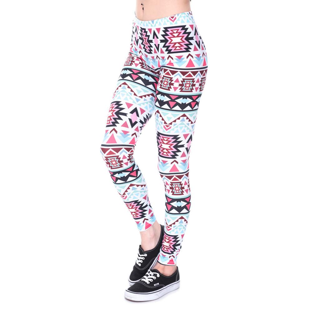 Zohra Brands Women Fashion Legging Aztec Round Ombre Printing leggins Slim High Waist Leggings Woman Pants 16