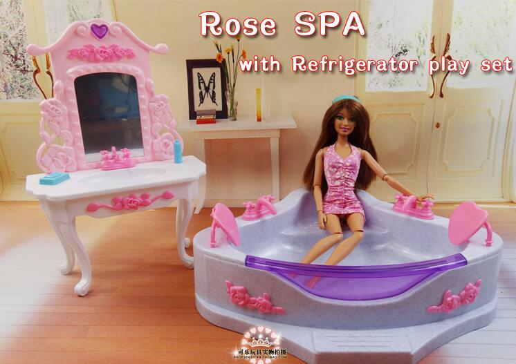 Free Shipping Bath Dresser Set Swimming Pool rose spa Girl birthday gift Play Set girl home toys doll Furniture for barbie doll