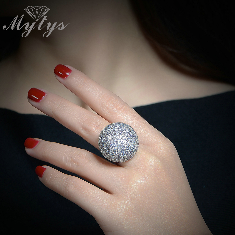 Mytys Pave Postavljanje Kristal Luksuzni zrnasti prsten Oblik kugle - Modni nakit - Foto 5