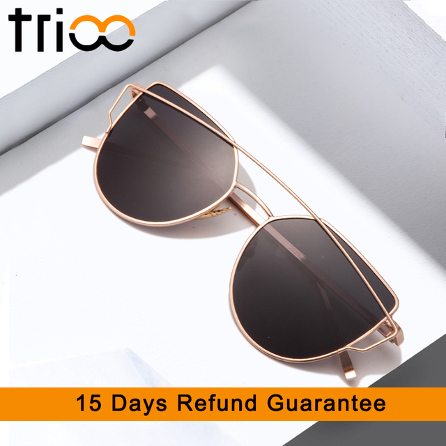 b5bf0a7fb0 TRIOO Polarized Driving Sunglasses Women Cat Eye Mirror Shades Gold Metal  Frame Oculos Chic Design Summer Sun Glasses Female