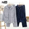 Новый Зима теплая Япония стиль военно-морского флота мужчин пижамы наборы качество утолщенной фланель повседневная Зима мужская домашней одежды гостиная сна
