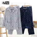 New Winter warm Japan style navy male pajama sets quality thickened flannel casual Winter mens homewear sleep lounge