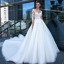 Loverxu соблазнительное длинное с открытой спинкой рукавом Свадебные и Бальные платья совок шеи аппликации из бисера Часовня Поезд Свадебные платья в стиле винтаж
