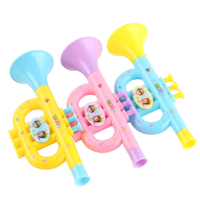 1Pcs Colorful Plastic Trumpet Hooter Plastic Baby Kids Musical Instrument Early Education Toys Random Send
