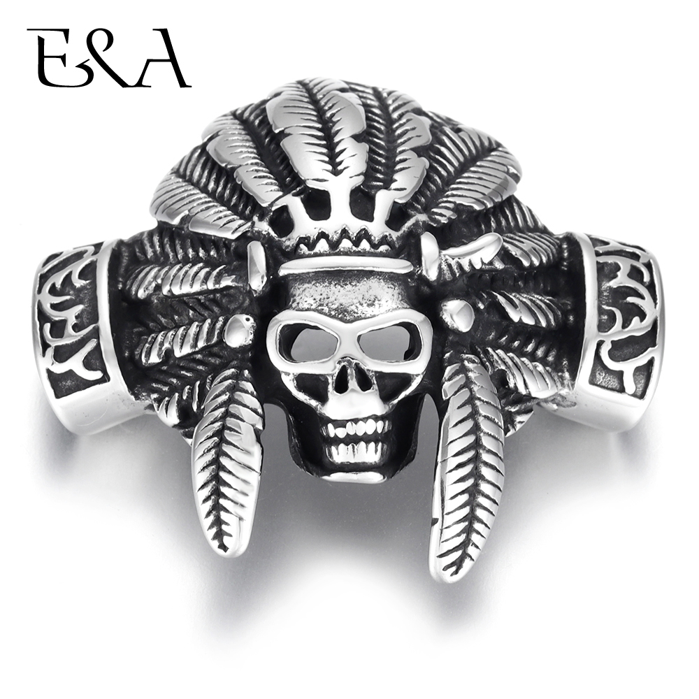 Stainless Steel Indian Chief Skull Connector Hole 12*6mm For DIY Punk Charm Bracelet Findings HIPHOP Men Jewelry Making Supplies