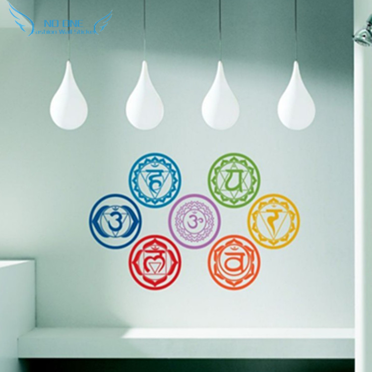free shipping 7pcs/set Chakras Vinyl Wall Stickers Mandala Yoga Om - Home Decor