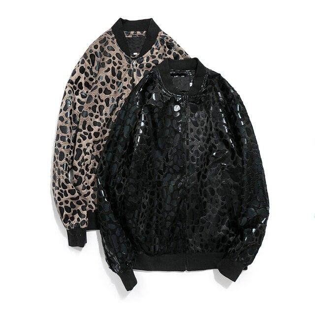 Мужская мода Печати Леопарда Вскользь Стенд Бейсбол Воротник Высокое Качество Новая Тенденция Пальто Специальный Улица Одежда Куртка Плюс размер 5XL