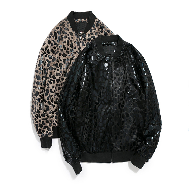 Fashion Men Leopard Print  Casual Stand Baseball Collar High Quality New Trend Coat Special Street Clothes Jacket Plus size 5XL
