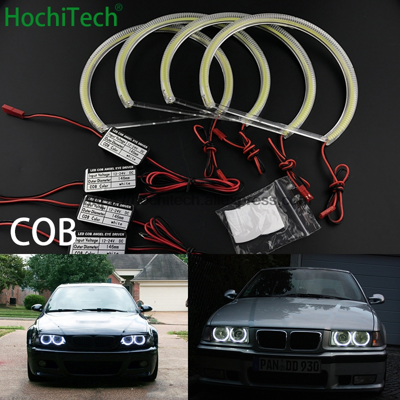 HochiTech For BMW E36 E38 E39 E46 3 5 7 Series Xenon Headlight car styling Ultra Bright White LED COB Angel Eye Halo Light