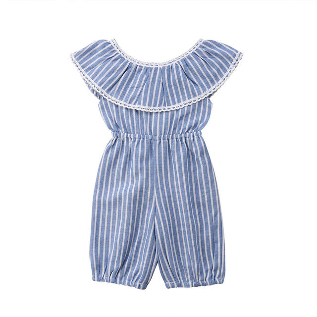 bd476ad3bd3 Newborn Kids Baby Girls Striped Romper Ruffles Sleeveless Jumpsuit Outfits Clothes  Summer Casual Baby Girl Clothing Cotton