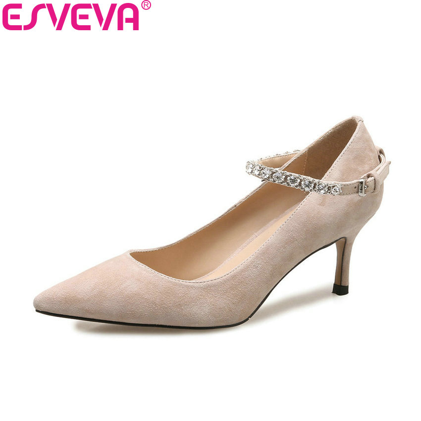 ESVEVA 2018 Women Pumps Kid Suede PU Thin High Heels Three Kinds Heels 4/5.5/9cm Pointed Toe Elegant Women Shoes Size 34-39 fresh minerals пудра основа рассыпчатая с минералами natural mineral loose powder foundation 11 г