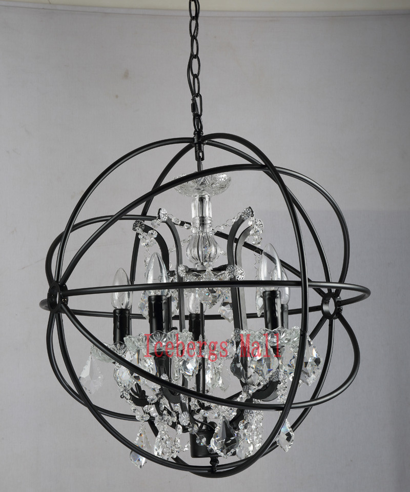 Nordic Iron Chain Cage Crystal Pendant Lights American RH Industrial Lamp Vintage Home Decor Hanging Light For Living Room1