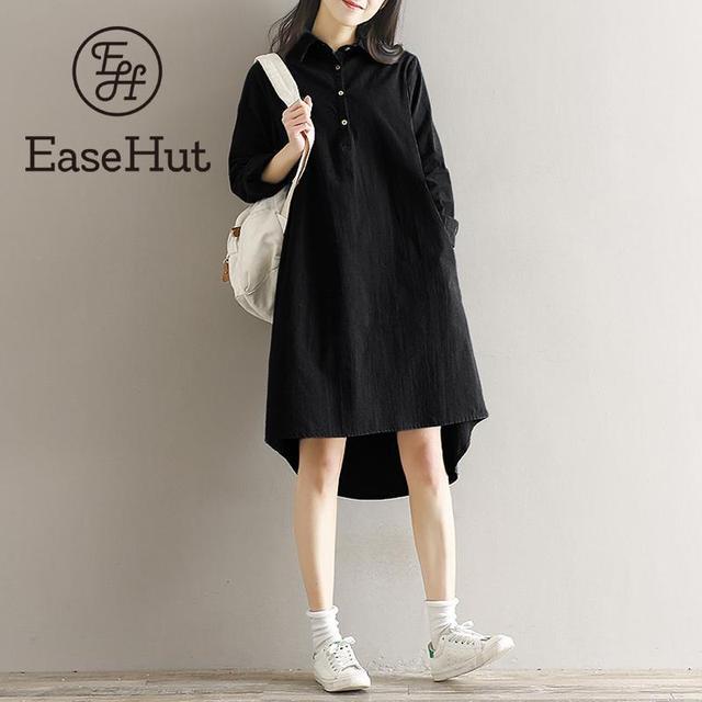 5790a2d5db0 EaseHut Plus Size 5XL Women Fashion Retro Midi Cotton Dress Turn-Down  Collar Long Sleeve Robe Casual Loose Dresses vestido mujer