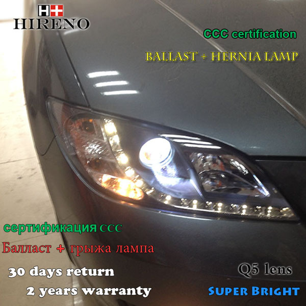 Hireno Headlamp for 2006-2012 Mazda 3 Mazda3 Headlight Assembly LED DRL Angel Lens Double Beam HID Xenon 2pcs hireno modified headlamp for kia cerato 2006 2008 headlight assembly car styling angel lens beam hid xenon 2 pcs