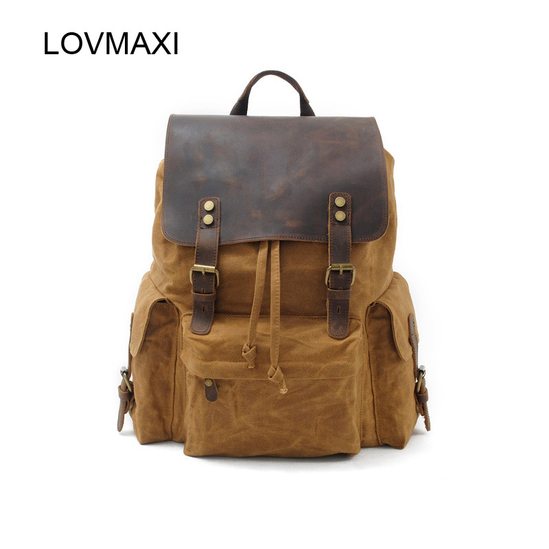 Canvas Leather backpacks Men's BACKPACKS Vintage large backpack Causal travel bags Student daily backpacks School bags anime fairy tail backpack student cartoon school bags canvas travel backpacks durable teenager daily bag