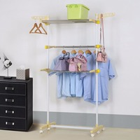 Home Folding Rolling 3 Tier Garment Clothing Rack with Hanging Rails System