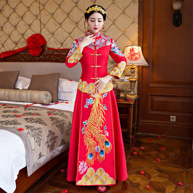 wedding cheongsam traditional Chinese bride dress Ancient marriage costume  gown clothing womens embroidery phoenix red Qipao ef76bd8b8da6