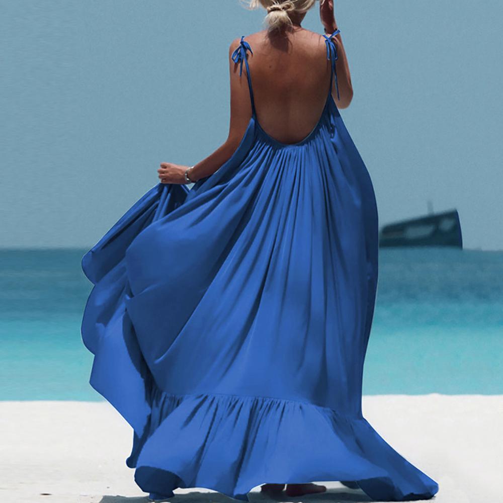 Boho Maxi Dress Women Spaghetti Strap Backless Long Dress 2019 Sexy Summer Party Bohemian Beach Dresses Vestidos Robe Femme 3
