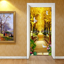 3D Wall Door Sticker Golden Forest Nature Landscape Wallpaper Living Room Bedroom Home Decor Door Decals PVC Papel De Parede 3 D