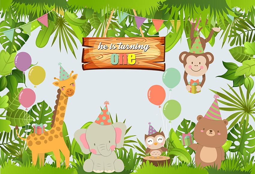 LFEEY 5x3ft Cartoon Zoo Background Vinly Baby Shower Safari Backdrop for Birthday Party Kids Children Baby Happy Birthday Cake Smash Backgrounds for Photography Photo Studio Props