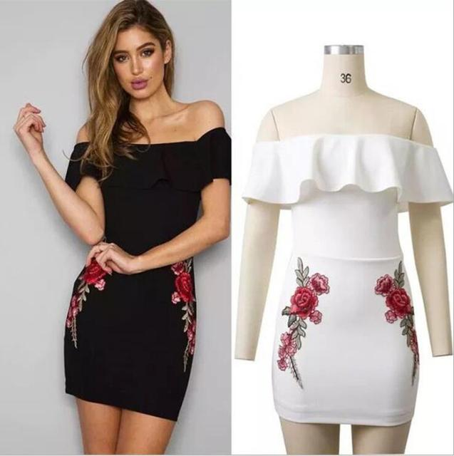 FY 2017 Latest Western Design Embroidered Flower Off Shoulder Ruffles Women  Bodycon Dresses For Ladies Club Sexy Dress 1745 3734a9156
