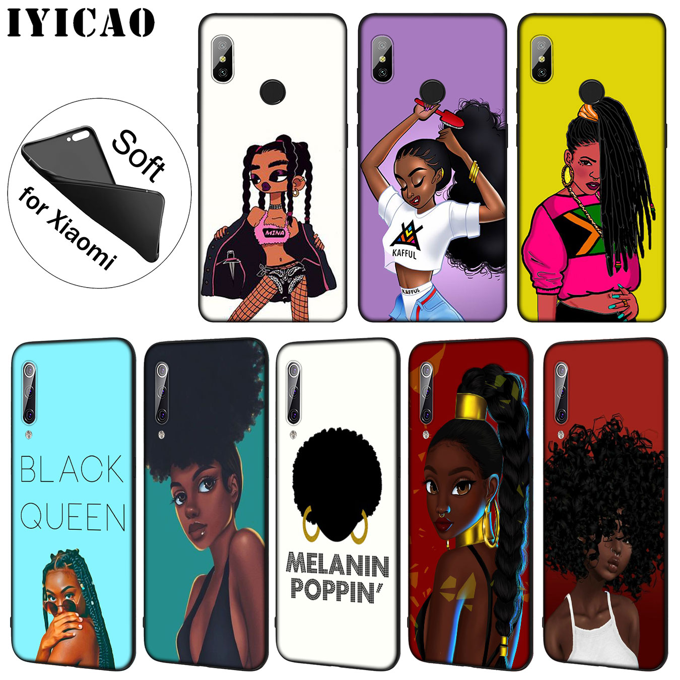 Fitted Cases Lovely Iyicao New Personalized Melanin Poppin Black Girl Soft Case For Xiaomi Mi 9 8 A2 Lite A1 6 6x Pocophone F1 Max 3 Mi9 Mi8 Mia2 Can Be Repeatedly Remolded.