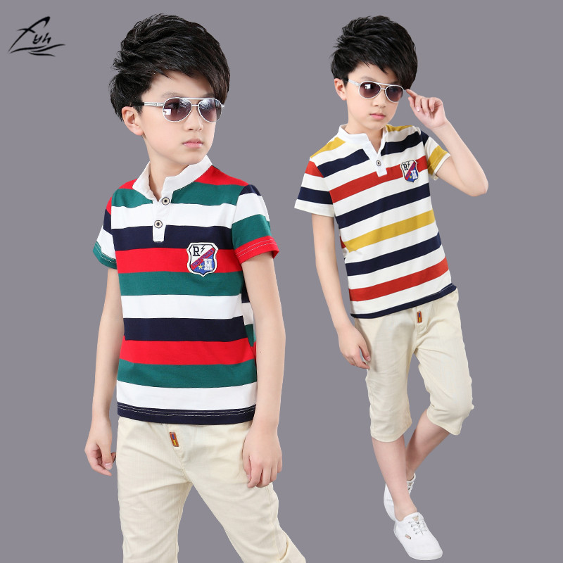 FYH Kids Clothing Summer Boys Short-sleeved Suit Children's Cotton Striped T-shirt + Shorts Teenager Boys Clothing Set 2pcs