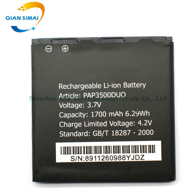 QiAN SiMAi Prestigio MultiPhone PAP3500 DUO 3500 1700mah High Quality Replacement Li-ion Battery free shipping + Track Code